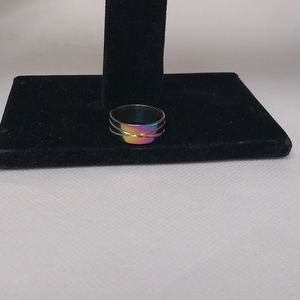 New multi colored stainless steel ring size 6